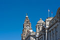 Front view of the liver buildings liverpool uk a from on waterfront Royalty Free Stock Photos