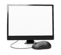 Front view of monitor with blank screen and computer mouse on white d render Royalty Free Stock Photo