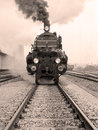 Front view of an old-fashioned steam locomotive Royalty Free Stock Photo