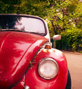 Front view of red retro car Royalty Free Stock Photo