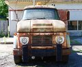Front View of Rusted out early 1940s Ford Tow truck Royalty Free Stock Photo