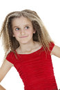 Front view of smiling girl looking sideways over white background Royalty Free Stock Photo