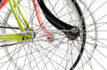 Front view of three bike wheel hiding eachother isolated on whit white Royalty Free Stock Photography
