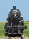 Front view train steam locomotive. Royalty Free Stock Photo