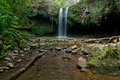 Front view of twinfalls on the north side of maui hawaii along creek famous in Stock Image