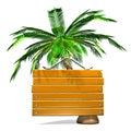 Front view of wooden message bräde med palmträdet Royaltyfria Bilder