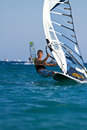 Front view of young windsurfer Royalty Free Stock Image