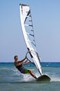Front view of young windsurfer Stock Image