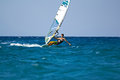 Front view of young windsurfer Stock Photography
