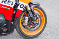 Front wheel motorcycle Honda Stock Photo