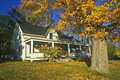 Front yard of home with Fall colors,  New Hampshire Royalty Free Stock Photo