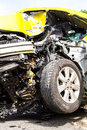 front Yellow car accident Royalty Free Stock Photo