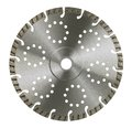 Frontal cut off wheel studio photography of a diamond studded cutting in white back Royalty Free Stock Photography