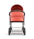 Frontal view of a baby stroller. 3d rendering. Royalty Free Stock Photo