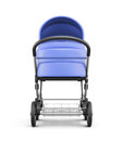 Frontal view of a baby stroller isolated on white background. 3d