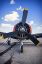 Frontal view of old vintage airplane propeller Royalty Free Stock Photo