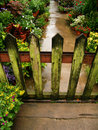 Frontière de sécurité et lichen en bois de jardin Photographie stock libre de droits
