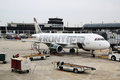 Frontier airlines airbus a plane at the gate at o hare international airport in chicago illinois october Stock Images