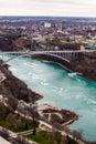 Frontier border rainbow bridge United States and Canada, Niagara Falls. Aerial view