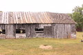 Frontier farmstead barn at a sod home in south dakota homestead Royalty Free Stock Photos