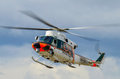 Frontier guard helicopter agusta bell flying over sea Stock Photography