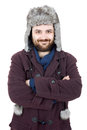 Frosen guy young casual man portrait with a russian hat Stock Photos