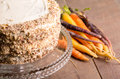 Frosted carrot cake with fresh carrots nuts and in background Royalty Free Stock Photos