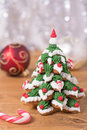 Frosted gingerbread cookies stacked as christmas tree Royalty Free Stock Images