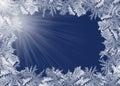 Frosty border on blue Royalty Free Stock Photo