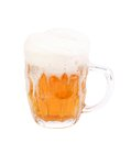Frosty glass of light beer set isolated on a white background Royalty Free Stock Image
