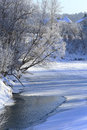 Frosty morning on the river Royalty Free Stock Photo