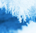 Frosty snow flakes closeup macro blue white background Stock Images