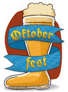 Frothy Beer Boot for Oktoberfest with Greeting Ribbon, Vector Illustration