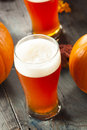 Frothy orange pumpkin ale ready to drink Royalty Free Stock Photography
