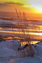 Froze in time the sun sets on a beach homer alaska Stock Photography