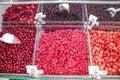 Frozen berries in containers bulk market Stock Photo