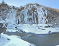 Frozen Big waterfall in Plitvicka Jezera, Croatia Royalty Free Stock Photo