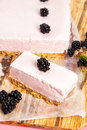 Frozen blackberry cheesecake white chocolate Royalty Free Stock Images