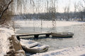 Frozen boats in the park Royalty Free Stock Photo