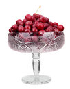 Frozen cherries in a bowl. isolated on white background Royalty Free Stock Photo