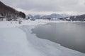 Frozen coast lake