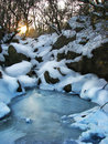 Frozen creek small in the gully winter sunny day Stock Photos