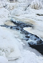 Frozen creek water in winter icy Royalty Free Stock Images