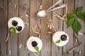 stock image of  Frozen dessert with blackberry, yogurt and oat flakes. Healthy breakfast