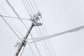 Frozen Electric Power Pole Royalty Free Stock Photo