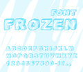 Frozen font. Ice alphabet. Transparent ABC. Cold blue letters