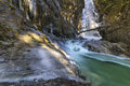 Frozen forms the coldest day of the year almost froze cascade falls in souther british columbia Stock Image