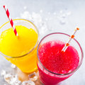 Frozen Fruit Slush Granitas with Drinking Straws Royalty Free Stock Photo