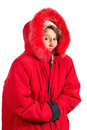 Frozen girl in winter coat Royalty Free Stock Photos