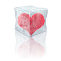 Frozen heart inside d ice cube Royalty Free Stock Photo